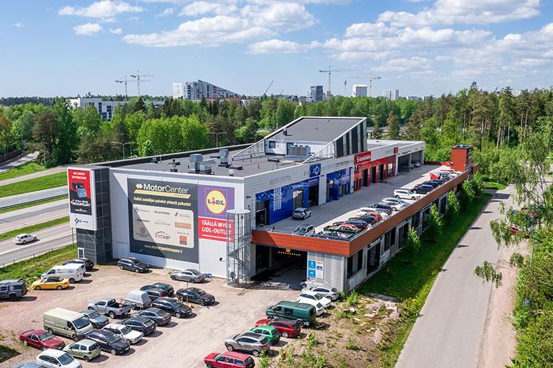 Vuokrattavat liiketilat Espoo Motor Center Espoonlahti ilmakuva